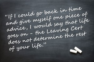 Student's quote on chalkboard